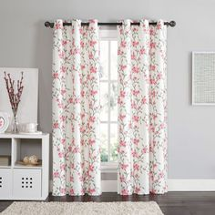 VCNY Rebecca Floral 84 Inch Grommet Top Room Darkening Curtain Panel Pair  By VCNY
