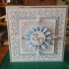 Commissioned 30th Wedding Anniversary Card themed to the colour of the wedding day.  I have used Tonic Studios Verso Ivy Bridge corner die set.