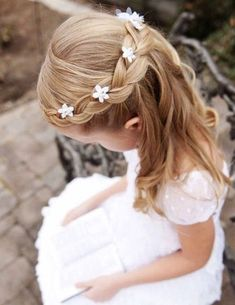50 First Communion Hairstyles Ideas Nis 2017 admin Kurzhaar Frisuren 0 Both boys and girls should feel spoiled on such an important day and an . Flower Girl Hairstyles, Fancy Hairstyles, Little Girl Hairstyles, Hairstyles For School, Braided Hairstyles, Child Hairstyles, Hairstyle Ideas, Little Girl Wedding Hairstyles, Communion Hairstyles