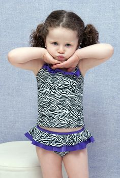 Kisses for mommy! Girls Zebra tankini - Lemons & Limes Kids Swimwear #kids #girlstankini #zebra