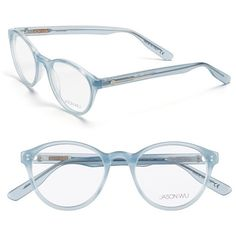 Jason Wu 'Rhonda' 48mm Optical Glasses ($240) ❤ liked on Polyvore featuring accessories, eyewear, eyeglasses, glasses, ice blue, blue lens glasses, round lens glasses, round glasses, jason wu eyewear and round eye glasses