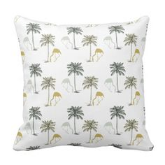 Sophisticated silver and gold flamingo and palm trees pattern throw pillow inspired by vintage tropical fabric design. The back is a solid white (changeable). Perfect for any coastal decor.
