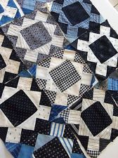Vintage Handmade SQUARE IN SQUARE Quilt Blocks Cotton Indigo Calico Shirtings