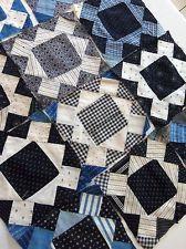 Vintage Handmade SQUARE IN SQUARE Quilt Blocks Cotton Indigo Calico Shirtings