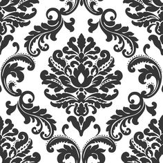 WallPOPs 30.75 sq. ft. Ariel Black and White Damask Peel and Stick Wallpaper