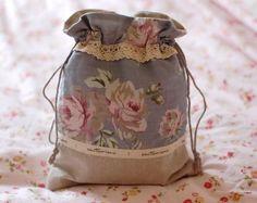 Annie Handcraft Laura Ashley Fabric Blue Rose Make up/Travel/Coin/ Bag/Purse B