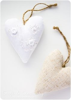 Decorated fabric hearts - by Craft & Creativity