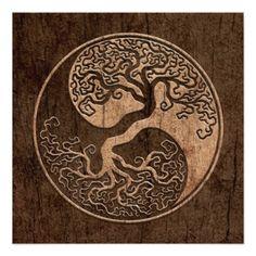 Tree of Life Yin Yang with Wood Grain Effect Invitation