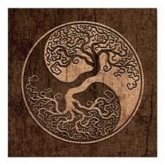Tree of Life Yin Yang with Wood Grain Effect Invitation