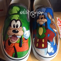 Adult Vans Brand Custom hand painted  Disney Goofy slip on Shoes by DaisyGirlJoy on Etsy https://www.etsy.com/listing/203548454/adult-vans-brand-custom-hand-painted