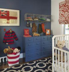 Kids — American Nursery, Area Rug, Bedroom, Bedroom For Boy, Blue Walls