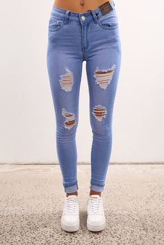 Eden High Skinny Ripped Jean Mid Blue