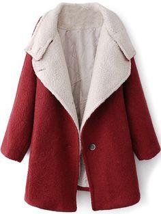 Abrigo de lana solapa manga larga muriciélago-Rojo vino EUR€46.21