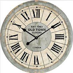 OROLOGIO DA PARETE LONDON GRIGIORE 60cm SHABBY CHIC NOSTALGIA - Tinas Collection