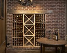 Wine rack ideas wine cellar rustic with wine racks round dining table built in storage wine storage brick walls Built In Wine Rack, Wood Wine Racks, Wine Rack Wall, Wine Wall, Wine Cellar Modern, Modern Wine Rack, Wine Rack Design, Wine Cellar Design, Pantry Design