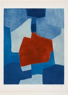 Composition bleue et rouge by Serge Poliakoff