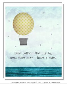 Hot Air Balloon Art Nursery Print With Color Choices. Baby Boy Room Decor. Little Girl Wall Art. Rhyme Quote Print.