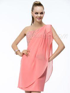 Modern Short/Mini-Length One-Shoulder Sheath/Column Beading Ruffles Cocktail Dress 10865854 - Cocktail Dresses 2014 - Dresswe.Com