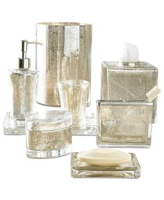 Avanti Mercury Crackle Glass Bathroom Accessories Collection ...