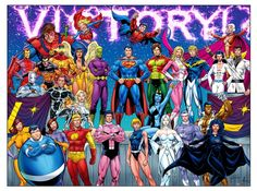 Legion of Super Heroes, Victory stance, classic, Bronze, Silver, The Legion Outpost