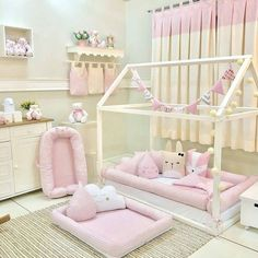 """I love the little """"bumpers"""" to keep a sleeping babe from falling out of the bed! Baby Bedroom, Baby Room Decor, Girls Bedroom, Toddler Rooms, Toddler Bed, Princess Room, Little Girl Rooms, Home, Creative Decor"""