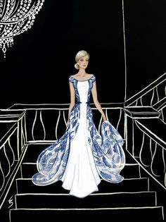 Lydia Snowden Illustration. Fashion illustration of evening gown, based on Chinese Porcelain patterns.