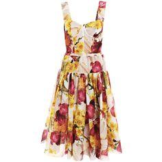 Dolce & Gabbana Red-onion print organza dress ❤ liked on Polyvore