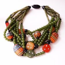 Angela Caputi 8 Strand Olive Green Bead Necklace Painted and Spice Colored Beads