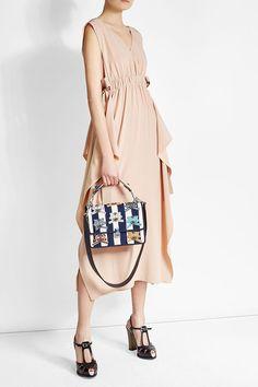 Fendi Silk Crepe Dress with Ruffles Crepe Dress, Silk Crepe, Best Wedding Guest Dresses, Striped Canvas, Canvas Shoulder Bag, My Bags, Preppy, Fendi, Ruffles