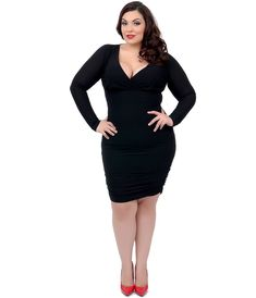 Plus size black dress with sleeves