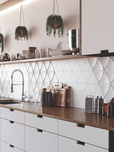 EVOKE is composed of a triangle and small diamond in white body, two items that leave conventionalism behind and are notable for their three-dimensionality and volume. Basement Kitchen, Kitchen Backsplash, Basement Shelving, Kitchen Design, Kitchen Decor, Home Coffee Stations, Geometric Tiles, Unique Furniture, Cozy House
