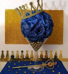 MARTINI FLOWER BALL Royal Prince Baby Shower Table Centerpiece / Little Prince Royal Blue and Gold Baby Shower Theme and Decorations by PlatinumDiaperCakes on Etsy https://www.etsy.com/listing/578993852/martini-flower-ball-royal-prince-baby