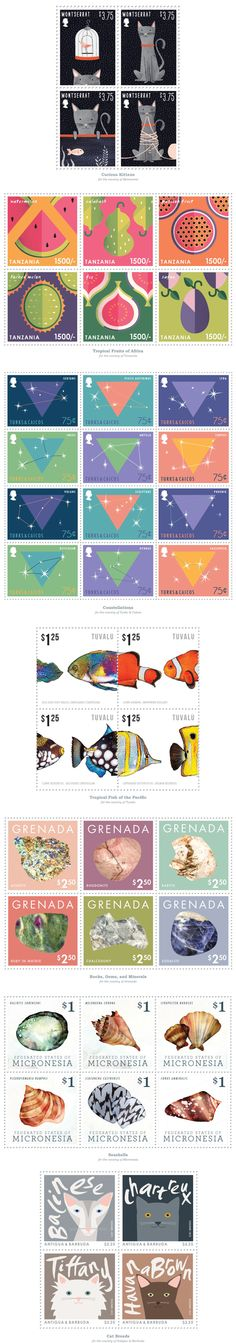 Various postage stamps created for Inter-Governmental Philatelic Agency Illustration Sketches, Illustrations, Postage Stamp Art, Going Postal, Planner Template, Stamp Collecting, Mail Art, Art For Kids, Kitten