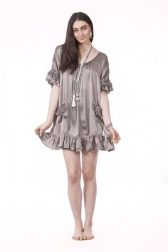 Zali Silk Dress in Stone