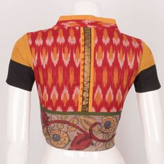 Hand Crafted Ikat Cotton Blouse With Collar Neck & Boondi Design 10025138 - Size 38