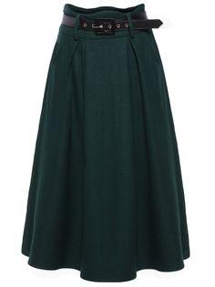 Belt Pleated Green Skirt 20.00