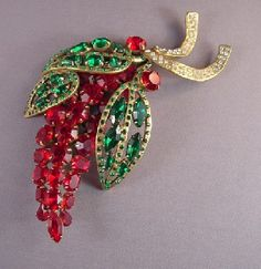 """John Catalano large red and green rhinestones brooch  set in gold tone with clear rhinestone accents, a fabulous 1990s piece, and large at 5-1/2"""".  John said this is from his 1990s series called the """"Animated Abstract Series""""."""