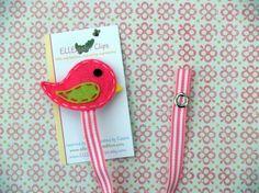 Pink Little Birdie - Felt Pacifier Clip Holder