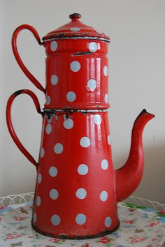 okay, not a mushroom, but this enamel coffeepot has the essential red with white polka dots