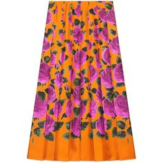 Gucci Rose Garden Print Silk Skirt (6,550 MYR) ❤ liked on Polyvore featuring skirts, ready-to-wear, rose, women, pleated skirt, floral pleated skirt, knee length pleated skirt, orange skirt and floral printed skirt