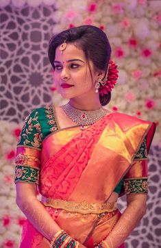 Stunning Bridal Blouse Designs With Heavy Kanjeevaram Borders And Intricate Embroidery Wedding Saree Blouse Designs, Half Saree Designs, Pattu Saree Blouse Designs, Wedding Silk Saree, Blouse Designs Silk, Bridal Sarees, Indian Bridal Outfits, Indian Bridal Fashion, Wedding Saree Collection
