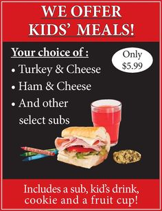 DiBella's Subs offers Kids' Meals. #submarines #dibellassubs #kids