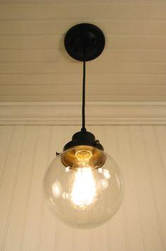 Biddeford II. Clear Globe PENDANT Light. $59.00, via Etsy.