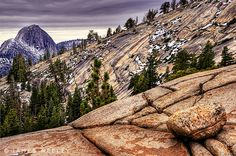 Half dome in Yosemite National Park as seen from Olmsted Point, California, USA