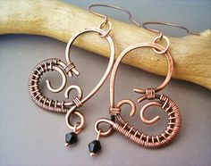 Wire Wrapped Heart Copper Earrings - wire wrapped jewelry handmade - wire wrapped Earrings handmade by GearsFactory on Etsy https://www.etsy.com/listing/164984869/wire-wrapped-heart-copper-earrings-wire