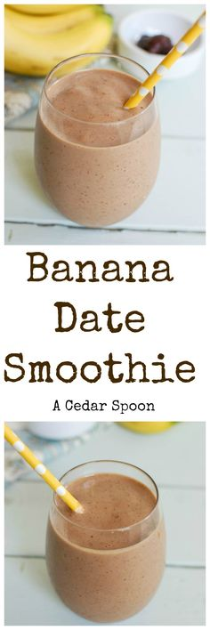Banana Date Smoothie is my favorite way to start the day. Bananas, dates, milk and greek yogurt make this a favorite. // A Cedar Spoon