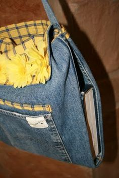 Blue jean tote - maybe from a leg/ folded & sewn would provide at least 3 compartments & outside pocket