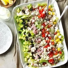"""Classic Cobb Salad Recipe -Making this salad is a lot like putting in a garden. I """"plant"""" everything in nice, neat sections, just as I do with seedlings. —Patricia Kile, Elizabethtown, Pennsylvania"""