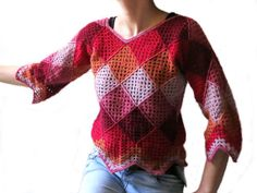 Asymmetric Old America Sweater. M size