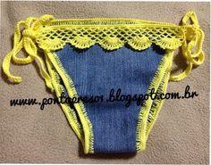 """Pegue aquela """"Calça Jeans"""" de preferencia com """"Stretch"""", que você quer transformar numa bermuda e aproveite as sobras!!!    Faça seus mo..."""